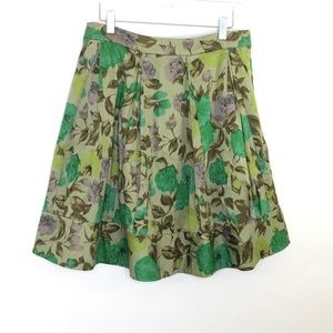 Anthropologie Odille Green FlorL Pleated Skirt 4